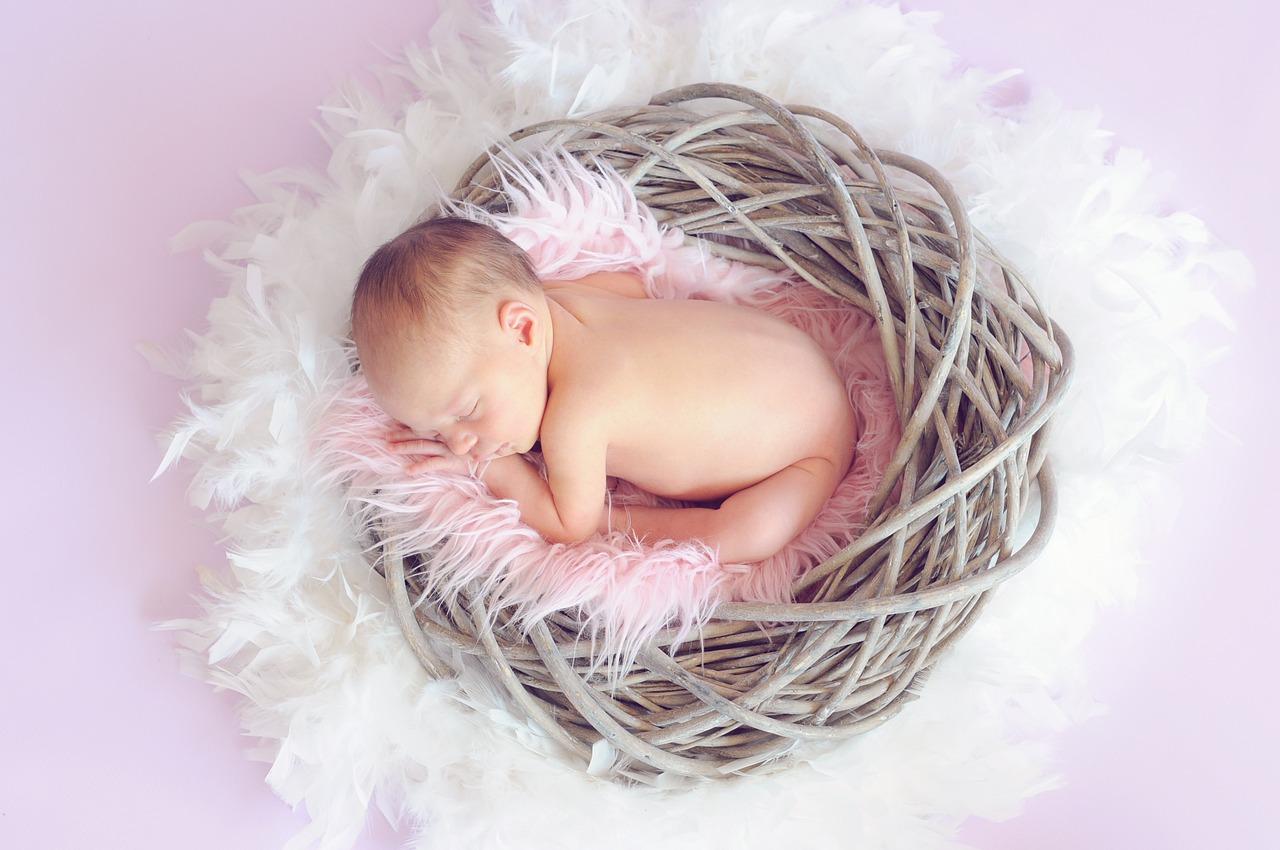 生まれたての赤ちゃんが寝ている